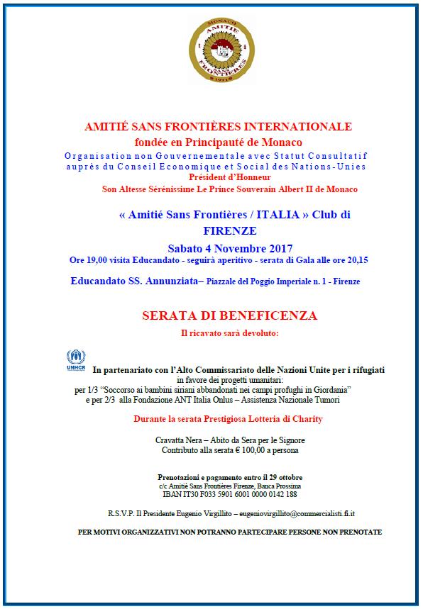 Le Cirque Firenze, cena di Gala per Amitiè Sans Frontieres